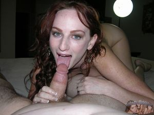 Amateur redhead Katy gives wet blowjob..