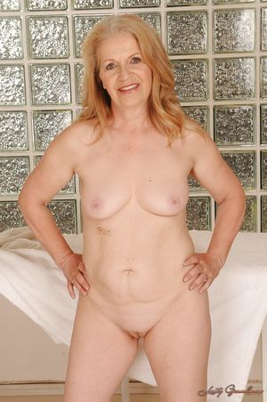 Lecherous granny posing naked and..