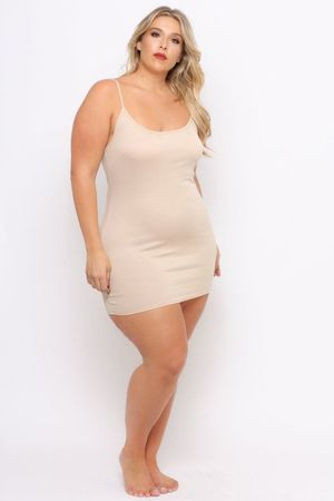 Plus Size Slip Dress- Tan Curvy Women..