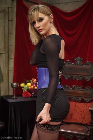 White-haired mistress Mona Wales is..