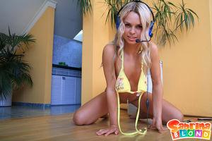 18yo blond teen stripping & teasing..