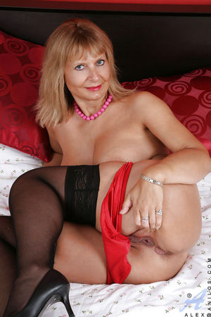 Mature woman in black stockings..