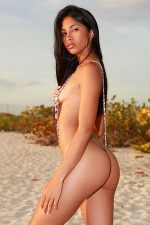 Hot naked latina at the beach -..