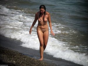 Beach nudists demonstrate the..