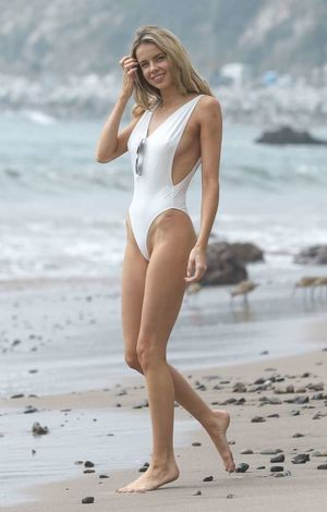 Louisa Warwick in White Swimsuit..