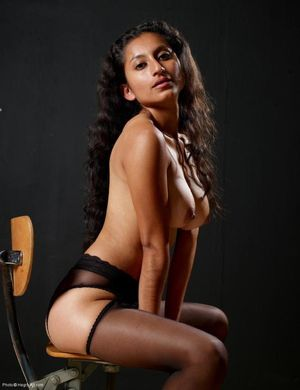 Sexy girl with dark smooth skin..