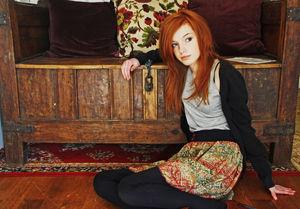 Scene Girls girl cute redhead wooden..