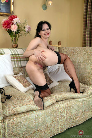 Hairy MILF in black stockings and shoes
