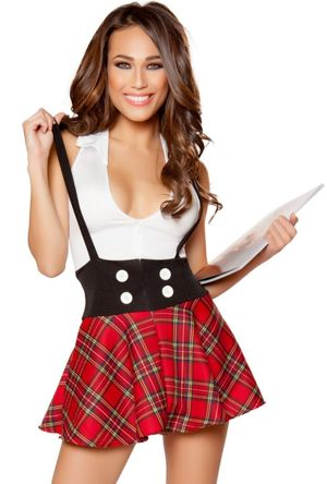 Sexy womens school girl pink plaid..