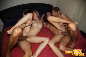 Two naughty hotties feel fat rods of..