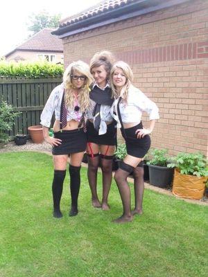 schoolgirl leavers (wearing tight..