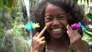 African Teen Girl Making Funny Stok..
