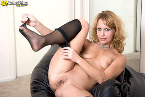 Petite blonde plays with her 40 year..