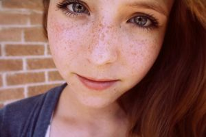 Beautiful Freckled Redhead Closeup -..