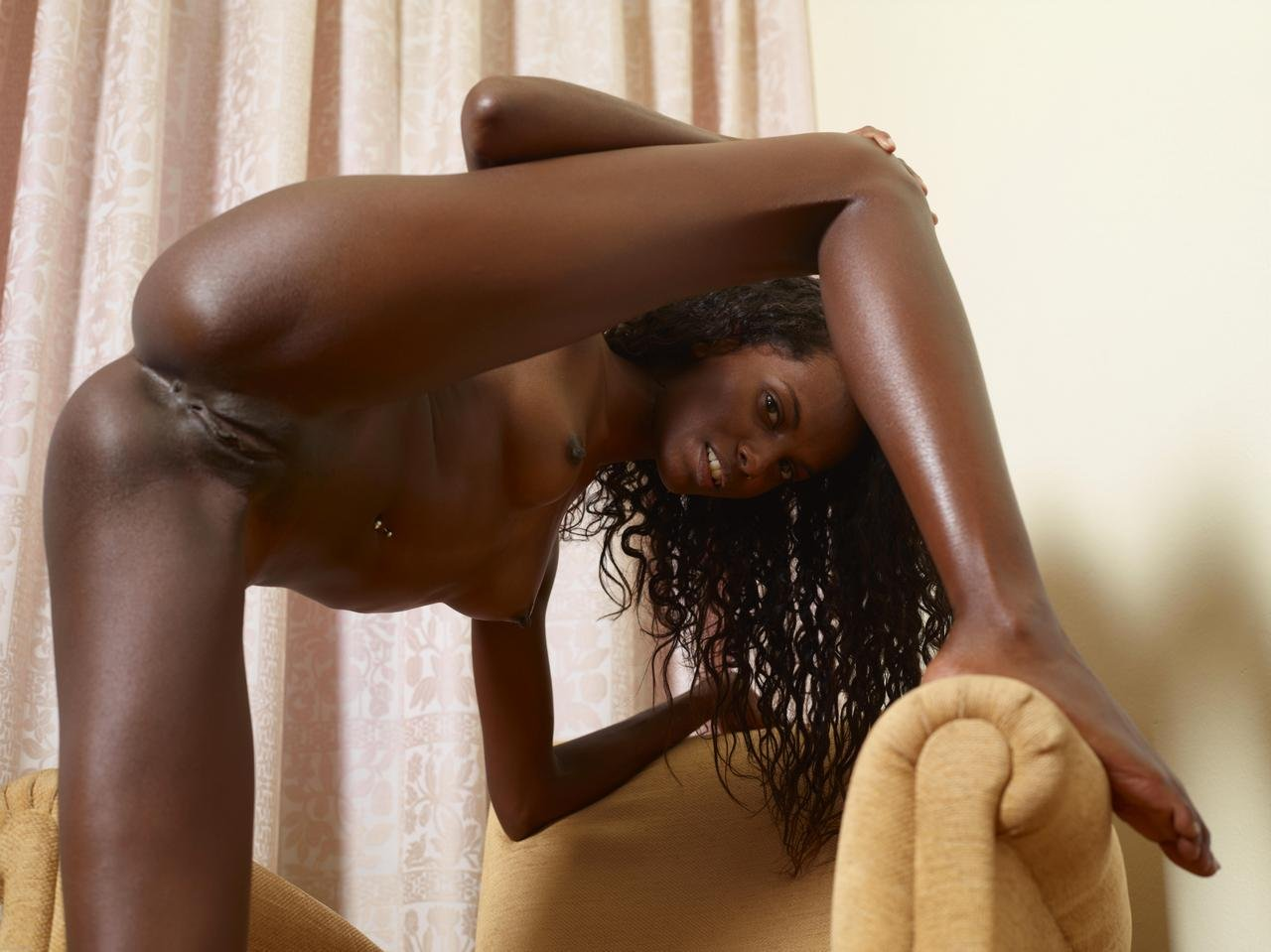 Skinny black ebony orgasm