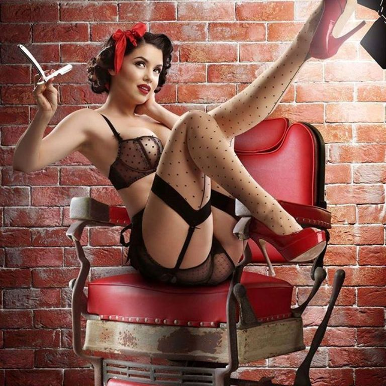 Pin up art print sexy retro babe with classic car