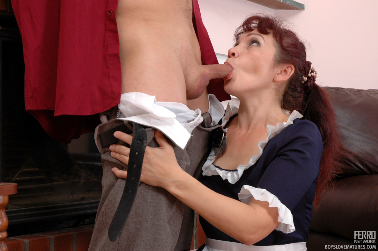 Submissive maid gives her master a handjob in the shower