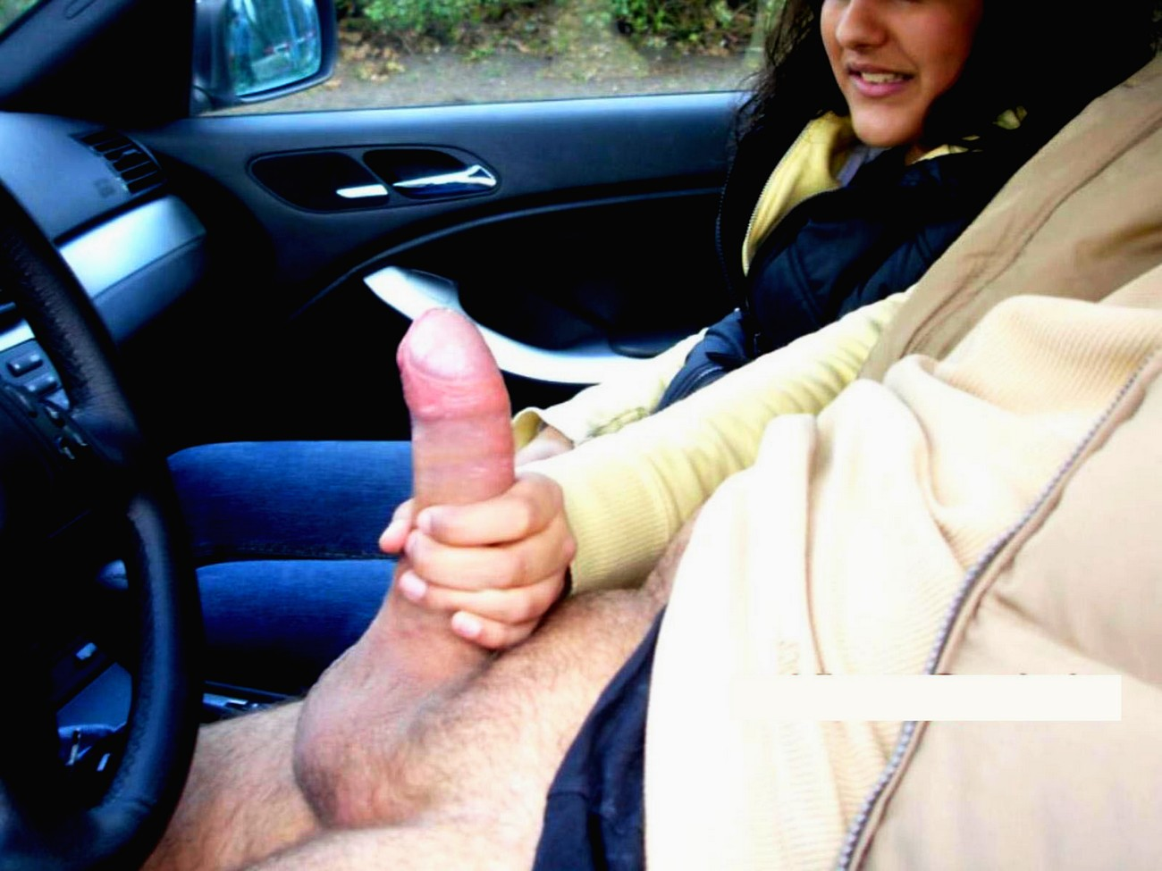 Stroking my thick juicy cock in my car