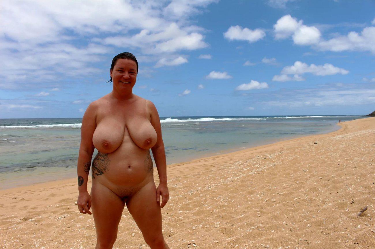 Chubby woman beach stock photo footage