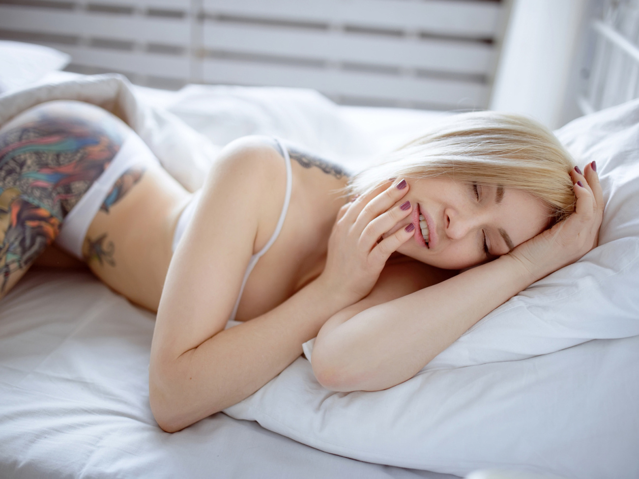 Beautiful Sensual Topless Woman Lying On Bed Stock Image