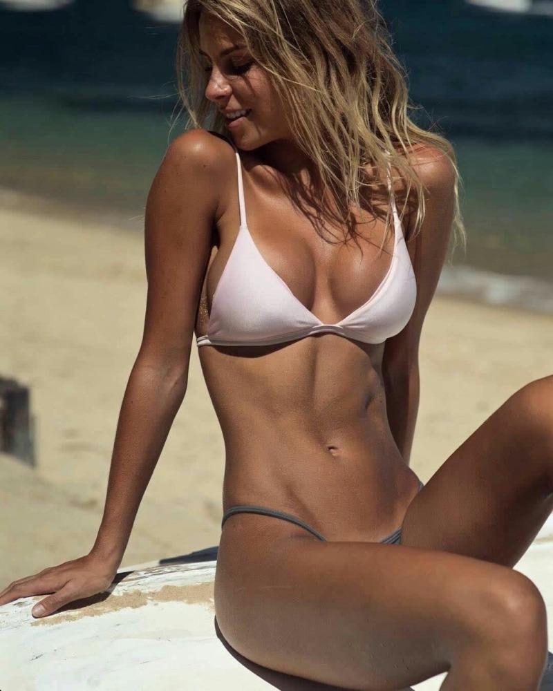 Hot girls in sexy bikinis on the beach