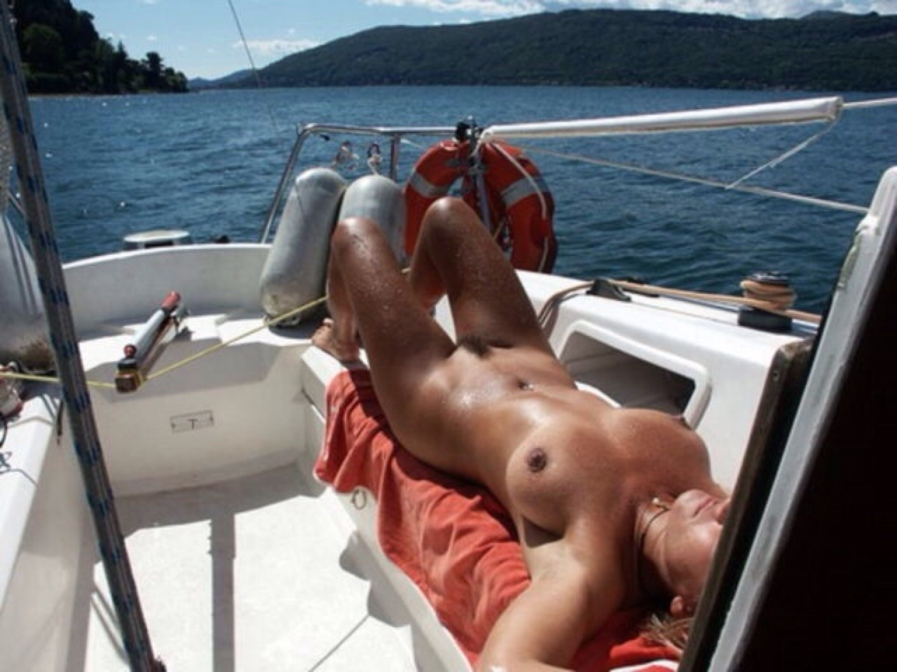 Anna and sarka nude in two girls nude on a sailing boat