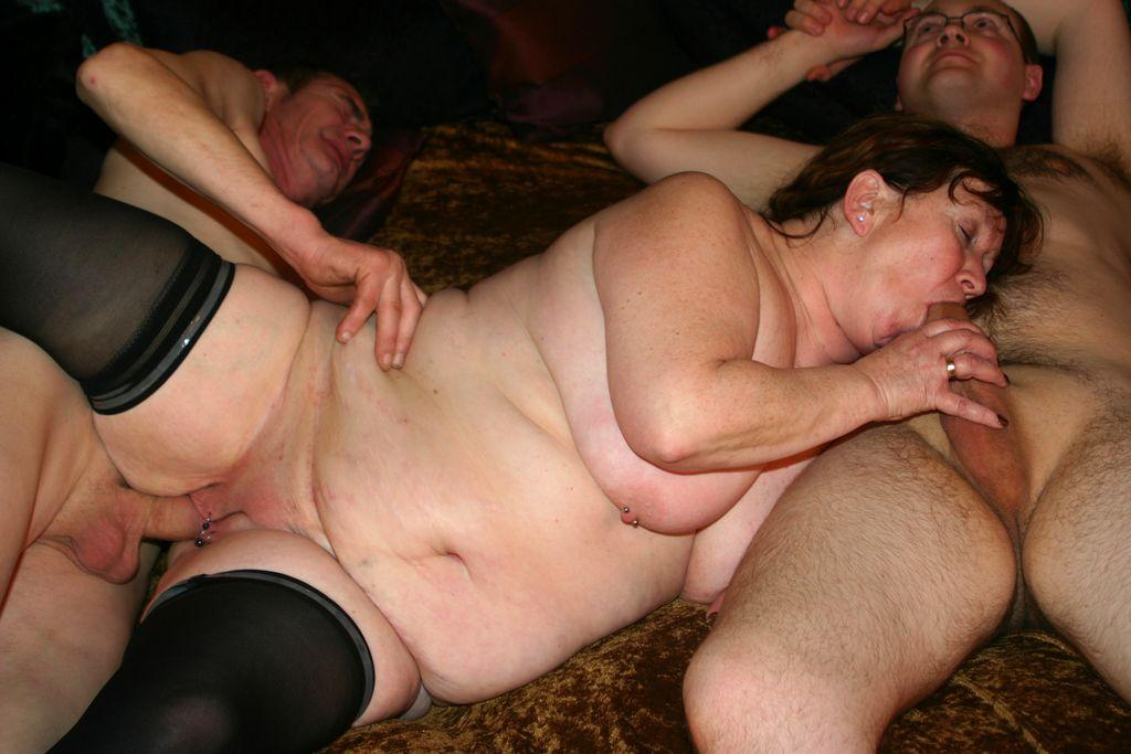 Fat elderly woman gets fucked by two young guys group